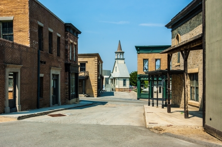 saloon: una ciudad falsa antigua utilizada como escenario de pel�cula Foto de archivo