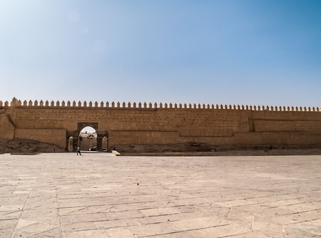 moresque: ancient town fortified walls in Fes, Morocco, Africa Stock Photo