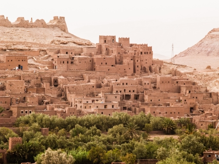 sahara: An ancient moroccan fortified town (or kasbah) located in Ait Benhaddhou Editorial