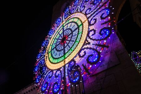 decorative light of a village festival in the south of italy photo