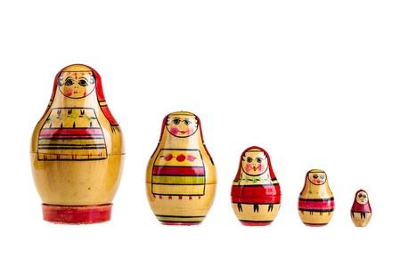 matroushka: a set of Matrioshka russian dolls isolated over a white background Stock Photo