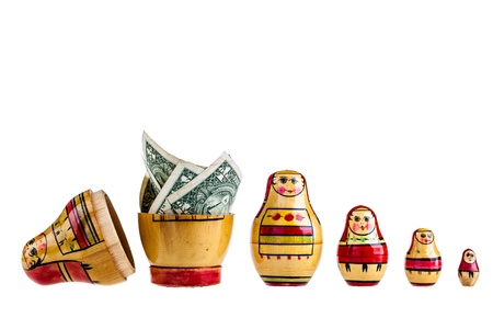 a set of Matrioshka russian dolls isolated over a white background photo