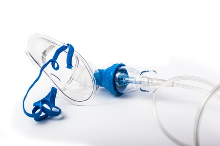 o2: a medical oxygen mask isolated over a white background