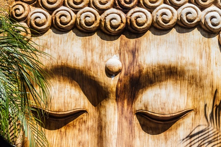 detail of a wooden zen sculpture in a zen garden Stock Photo - 20706141