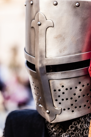 conqueror: a medieval knights helmet made of hand crafted steel Stock Photo