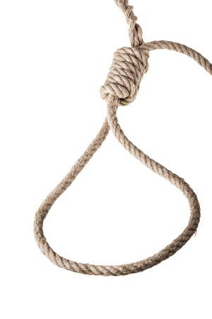 a noose made with a hemp rope isolated over white background