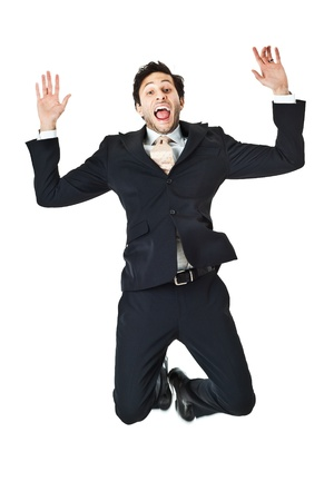 an handsome businessman jumping on a white background photo