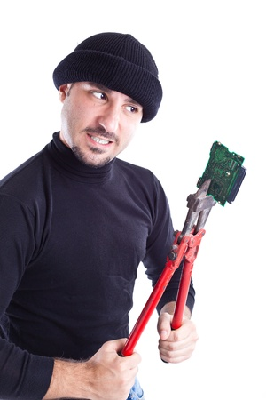 wire cutters: a thief or burglar breaking a circuit with big wire cutters