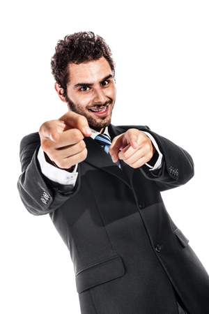a cool and handsome businessman pointing at you with both index fingers (focus on fingers) photo