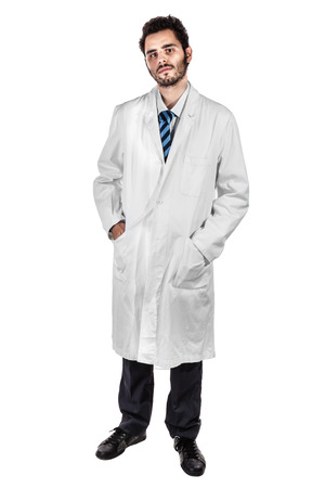 a young and handsome doctor or medical student isolated over a white background photo
