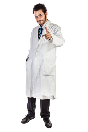 a young and handsome doctor or medical student isolated over a white background Stock Photo