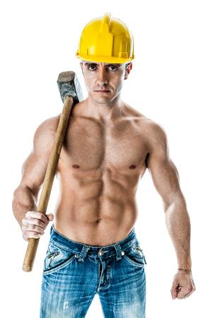 Cercasi... 23367675-un-lavoratore-manuale-molto-muscoloso-e-bello-con-un-sludgehammer-e-un-casco-giallo-isolato-su-bianc