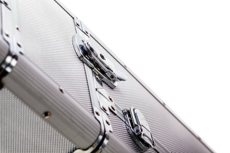 a sturdy aluminium case isolated over a white background Stock Photo - 23393925