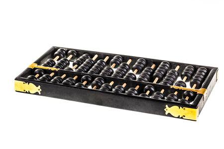 abaci: a traditional old black abacus isolated over a white background