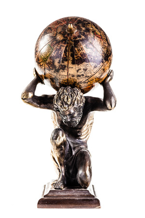 titan: a sculpture of the mythic Atlas holding the world over a white background