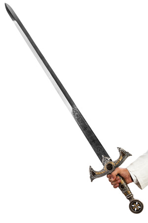 a hand holding a long and ornated medieval steel sword