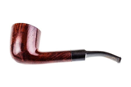 an old tobacco pipe isolated over a white background Stock Photo - 23393997