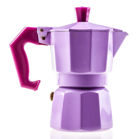 a lilac coffeepot isolated over a white background Stock Photo - 23394034