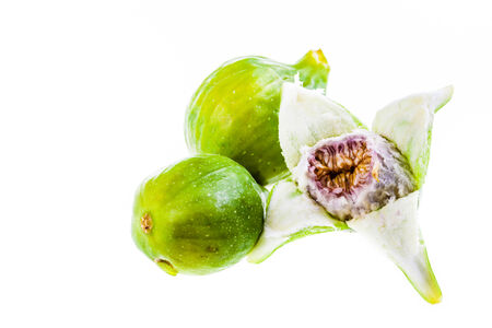 ripe green figs isolated over a white background Stock Photo - 23394046
