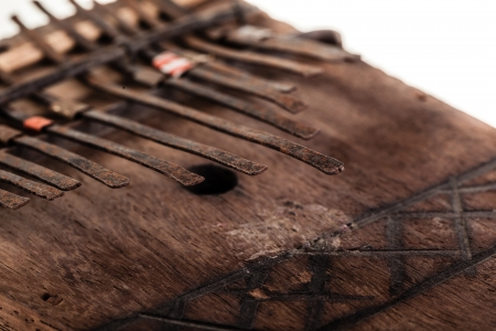 an african instrument named Mbira,  that consists of a wooden board with attached staggered metal keys Stock Photo - 23394095