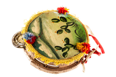 a traditional sicilian tambourine isolated over white background Stock Photo - 23394099