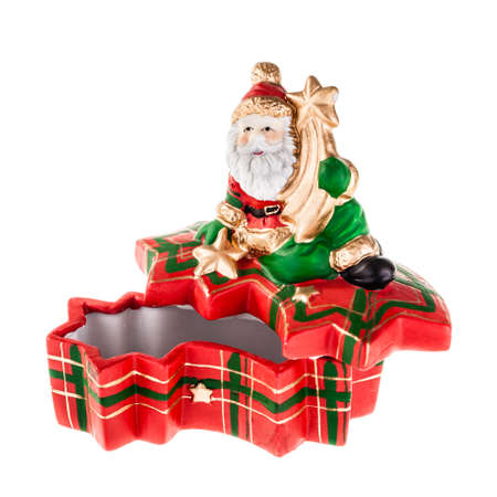 a christmas ornated box with santa claus isolated over a white background Stock Photo - 23394107