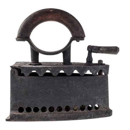 an old charcoal iron isolated over a white background Stock Photo - 23394110