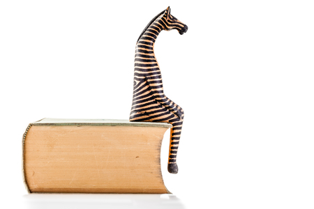 a wooden zebra sitting on a book isolated over a white background