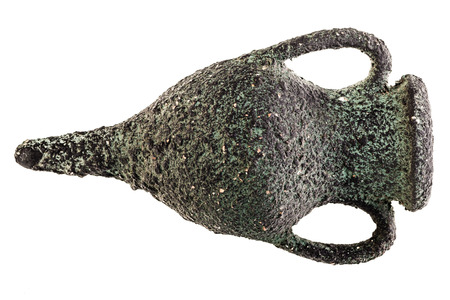ancient greek: an ancient and corroded greek amphora isolated over a white background Stock Photo