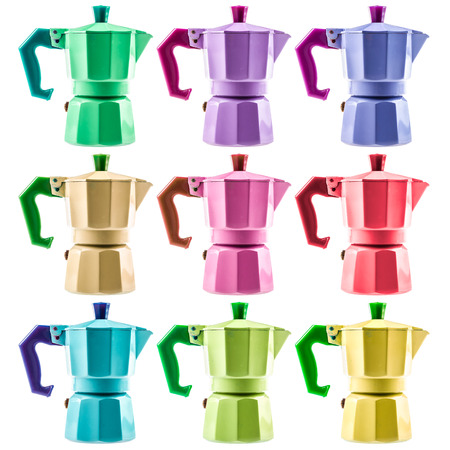 percolator: nine colourful coffe pots isolated over a white background