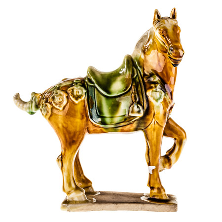 a porcelain hand made horse statuette from china isolated on white  Banco de Imagens