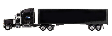 a black lorry model isolated over a white background