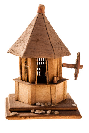 rumanian: Wooden models of Romanian izbas isolated on a white background