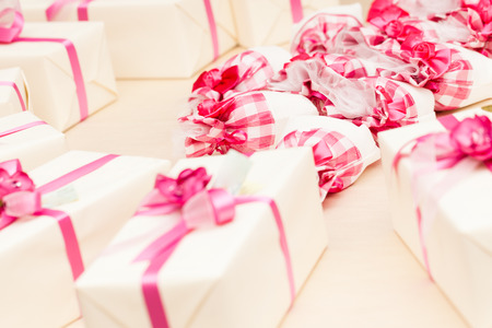 beautiful wedding favors wrapped in cute boxes photo