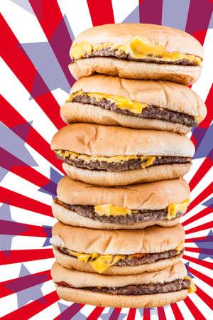 gula: una pila muy alta de cheesburgers representan la gula o una oferta muy especial de comida r�pida