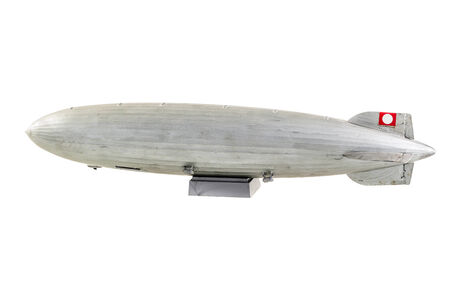graf: a gray zeppelin model isolated over a white