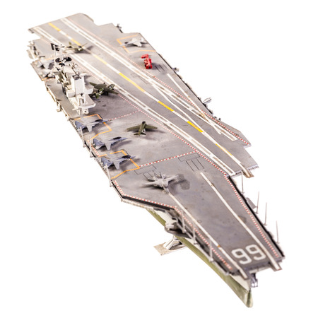 f18: The USS America (CVACV-66) was one of four Kitty Hawk-class supercarriers built for the United States Navy in the 1960s Stock Photo