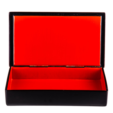 a black laquered box with a bright red interior isolated over white photo