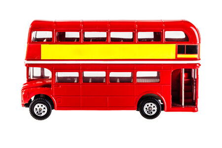 Classic London Bus model isolated over a white background photo
