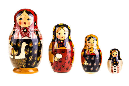 Matryoshka doll set isolated on a white background photo