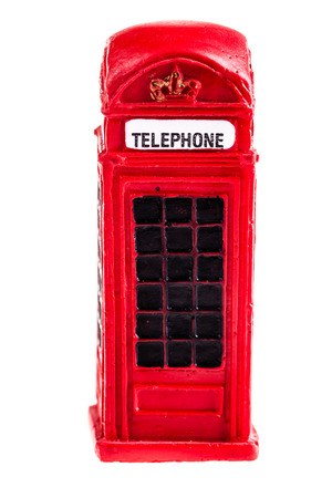 a typical red english phone booth isolated over a white background photo