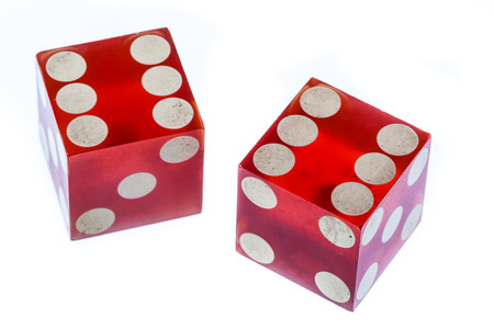 6 12: two red clear plastic dices isolated over white Stock Photo