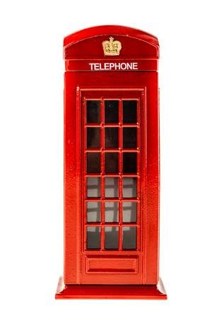 a typical english red phone booth isolated over a white background