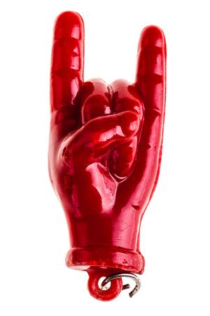 talism: aisl� un peque�os cuernos talism�n handsign sobre un fondo blanco