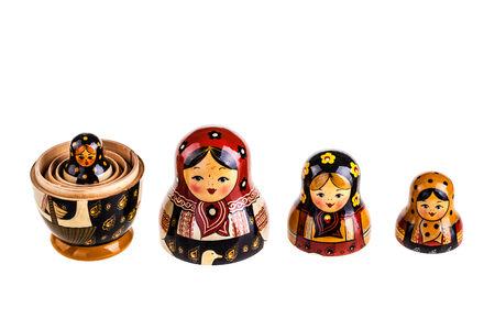 russian nested dolls: Matryoshka doll set isolated on a white background