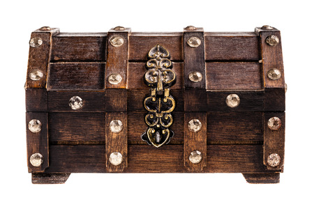 an ancient wooden chest isolated over a white background photo