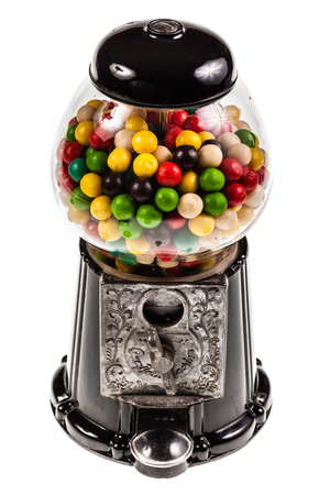 a bubble gum vending machine isolated over white background photo