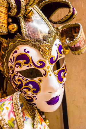 some typical venetian masks in a shop in venice photo