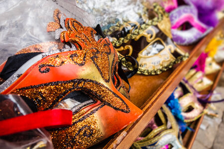 fairyland: some typical venetian masks in a shop in venice Stock Photo