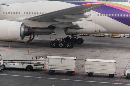 an airliner in the airport with a luggage cart nearby